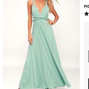 Lulus Light Sage Convertible Maxi Dress